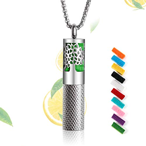 RoyAroma Essential Oil Diffuser Necklace,Aromatherapy Diffuser Tree of Life Pattern Pendant Locket Necklace, Diffuser and Container 2-in-1 Stainless Steel Necklace with 10 Color Pads