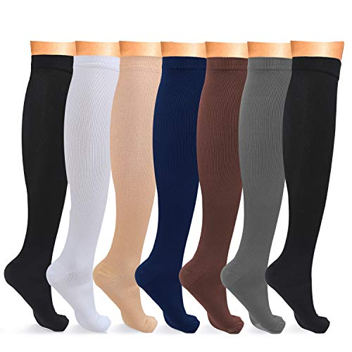 L-Lweik 8-15 mmHg Compression Socks Women Men Nursing Compression Stockings Knee High for Running, Exercise, Office, Nurses, Pregnancy, Maternity
