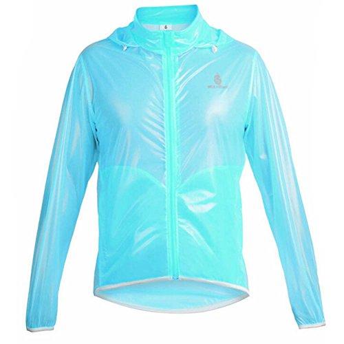 WOLFBIKE chamarra impermeable Ciclismo seguridad viento impermeable bicicleta chamarra Jersey, Azul, US Medium