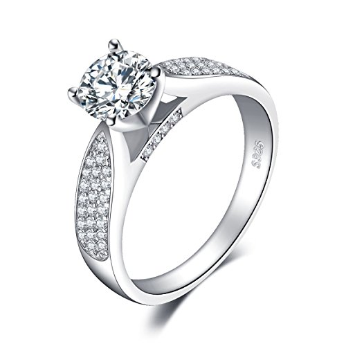 (JewelryPalace 1.2ct Cubic Zirconia Anniversary Solitaire Engagement Ring 925 Sterling Silver Size 7)