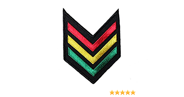 2.5 x 3.5 Inch New Rasta Colored Chevron Embroidered Iron on Patch Crest Badge .Size
