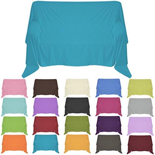 Nurtextil24 Sofaüberwurf in 30 Farben und 4 Größen Überwurf aus 100% Baumwolle Dunkeltürkis 150 x 240 cm