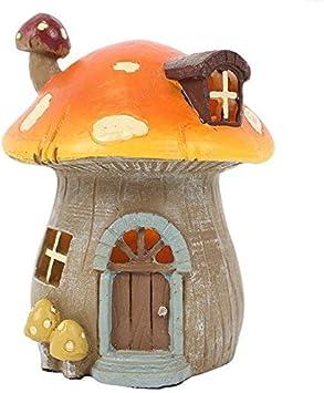 Jones Home & Gift -Casas De Hadas Con Luz Para Jardines De Hadas - Casa Seta Naranja
