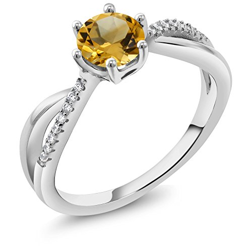 Gem Stone King Yellow Citrine 925 Sterling Silver Women s Infinity Ring 0.89 Cttw Round Gemstone Birthstone Available 5,6,7,8,9