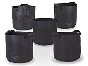 247Garden 5-Pack 20 Gallon Grow Bags /Aeration Fabric Pots w/Handles (Black)