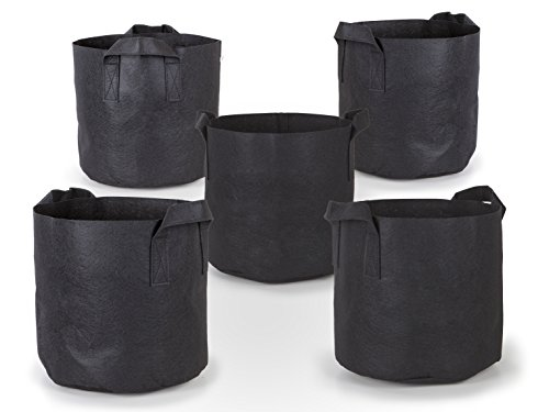 247Garden 5-Pack 15 Gallon Grow Bags Aeration Fabric Pots w Handles Black