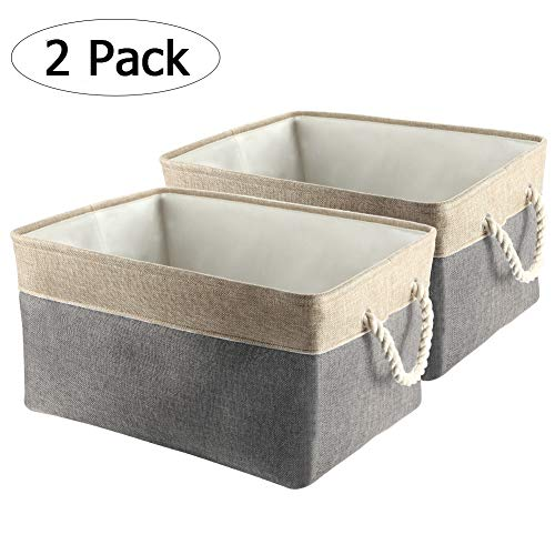 Canvas Book Box - Collapsible Storage Bins, IdealHouse Foldable Canvas Fabric Large Storage Baskets Cubes with Cotton Rope Handles for Kid's Toys Laundry Books[2-Pack]