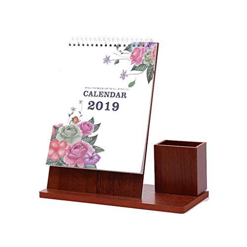 Calendar 2019 Family Calendar Creative Simple Student Office Plan Desktop Custom Calendar, Wooden Stand with Pen Holder Calendar Itinerary Management (Color : D)