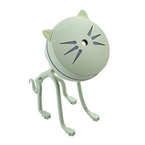 Miklan Mist Humidifier Usb Landscape Lamp Essential Oil Diffuser Night Light Decoration for Office Desk Car Home Bedroom- Cute Cat Shape (Green) by Miklan