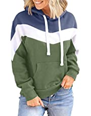 Womens Color Block Drawstring Hooded Long Sleeve Casual Hoodie Sweatshirts with Kangaroo Pocket