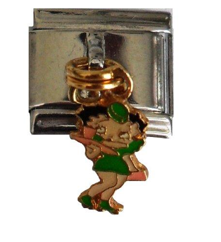 - Betty Boop Italian Bracelet Charm - 50's Diner Green Uniform