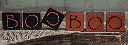 [Boo Boo Wood Blocks - Country Halloween Fall Seasonal Sign Decor] (Wood Boo Sign)