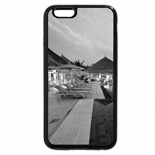 iPhone 6S Plus Case, iPhone 6 Plus Case (Black & White) - a seaside infinity pool in a resort at dusk