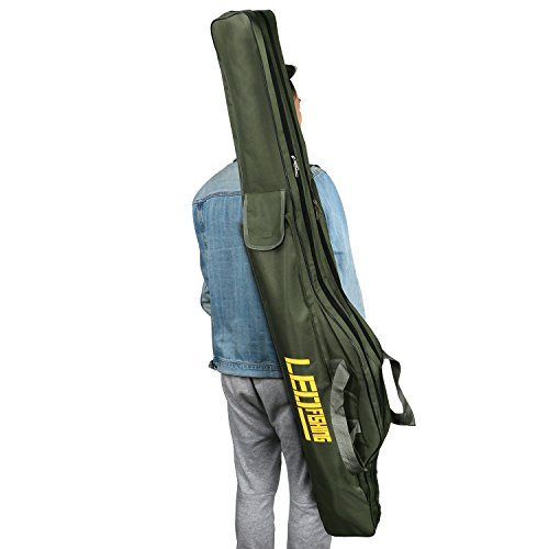 BlueStraw Fishing Rod Carrier Bag Folding Waterproof Fishing Pole Tools Storage Bag Case Double-Layer Large Capacity Travel Holder Fishing Gear Organizer (1.5m/4.92ft)