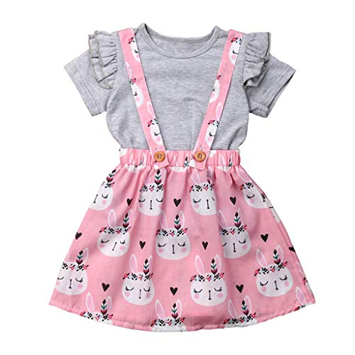 NUWFOR Kids Baby Girl Easter T Shirt Tops Bunny Suspender Skirt Overalls Clothes Set(Gray,4-5 Years)