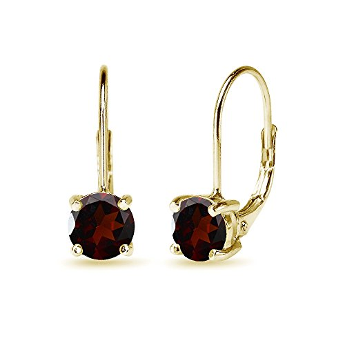 Yellow Gold Flashed Sterling Silver 6mm Round-Cut Garnet Leverback ()