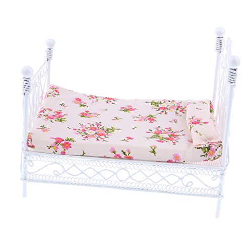DYNWAVE 1 12 Scale Doll House Bedroom Furniture - European Retro Bed Realistic Model, Kids Pretend Play Toy ()
