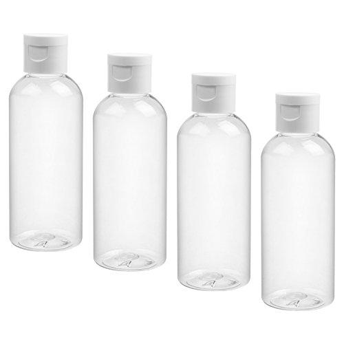 COSMOS Pack of 4 Plastic Portable Travel Bottles Empty Bottles Refillable Bottles Set, 100ml Capacity Tubes with Flip Cap