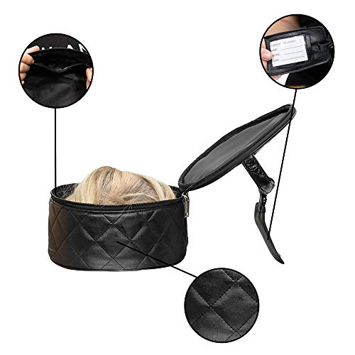 Milano Collection Premium Wig Travel Box or Makeup Case Compact & Durable in Black ()