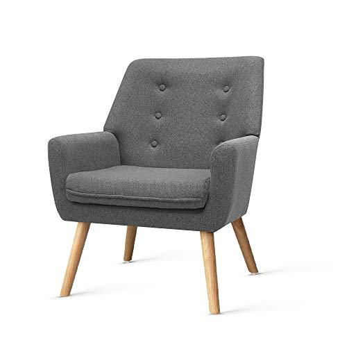 Artiss Armchair Fabric Wooden Lounge Sofa Chair Grey