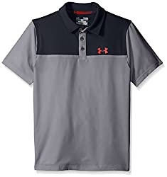 Under Armour Boys' Match Play Blocked Polo, Risk Red (600), Youth X-Large