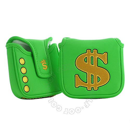 19th Hole Custom Shop Cash is King High-MOI Mallet Putter Headcover, Heel Shaft, Green, Golf Head Cover