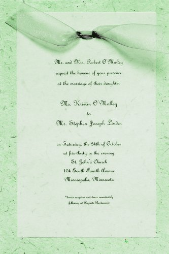 Gartner Studios Hand-Made Paper Wedding Invitation Kit, Sage, 10 Count (61033)