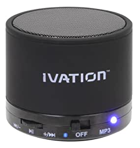 Ivation IVA-S10 Super-Sound Mini Wireless Portable Bluetooth Speaker Pod - With built in Micro SD-Card Slot & AUX Port for Versatile Flexibility - Plays MP3 Music from a Micro SD-Card - Built In Rechargeable Lithium Battery