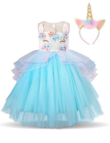 Disfraz Unicornio, Chica, Volantes, Fiesta De Cosplay, Boda, Partido,Vestido De Princesa,Flor