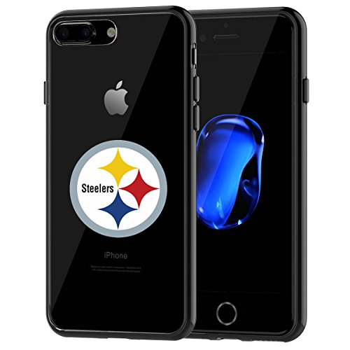 Steeler Shocks - Steelers iPhone 7 Plus Tough Case, Shock Absorption TPU + Translucent Frosted Anti-Scratch Hard Backplate Back Cover for iPhone 7 Plus- Black
