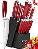 Knife Set, 15-Piece Kitchen Knife Set with Block, ABS Handle for Chef Knife Set, German Stainless Steel, Emojoy (Red).