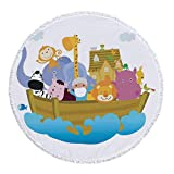 iPrint Thick Round Beach Towel Blanket,Religious,Religious Story the Ark with Set of Animals in the Boat Journey Faith Cartoon,Multicolor,Multi-Purpose Beach Throw