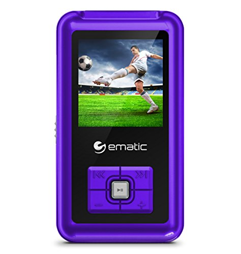 Ematic EM208VIDPR 8GB MP3 Video Player with FM Tuner/Recorder and 1.5-inch Color Screen, Purple