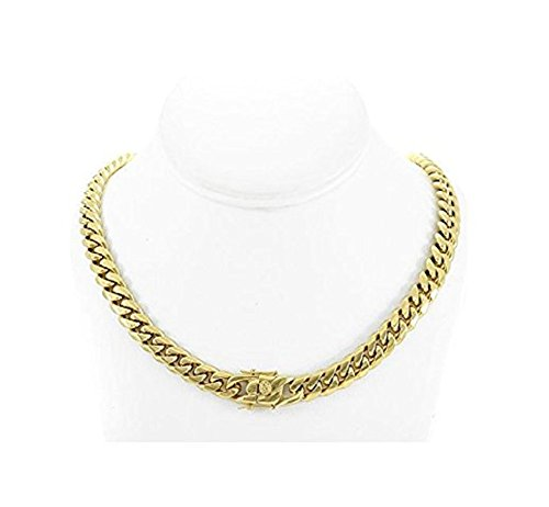 24' Cuban Link Chain (Solid 14k Yellow Gold Finish Stainless Steel 10mm Thick Miami Cuban Link Chain Box Clasp Lock (Chain 24''))