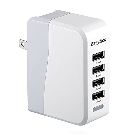 EasyAcc 20W 4A 4-Port USB Wall Charger with Folding Plug and Smart Technology Travel Charger For iPhone 6 Plus, iPad, Samsung Galaxy S6 Edge, (Smartphone Wall Plug)