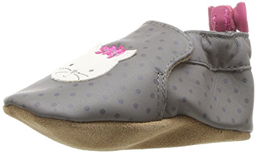 Robeez Girls' Miss Kitty Crib Shoe, Miss Kitty Grey, 6-12 Months M US Infant