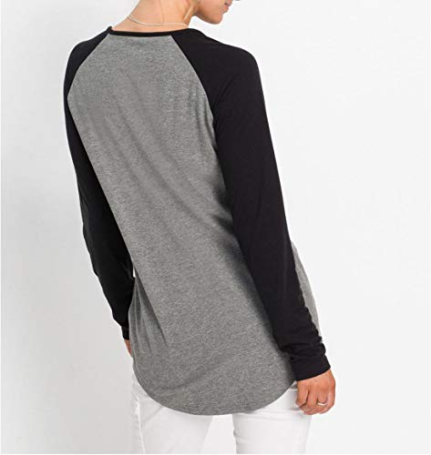 Automne Longues New Hauts Printemps Fashion Manches Chemisiers Blouse Casual Rond Femmes Noir pour Col Patchwork T Tops Tee Shirts Jumper zdO1w