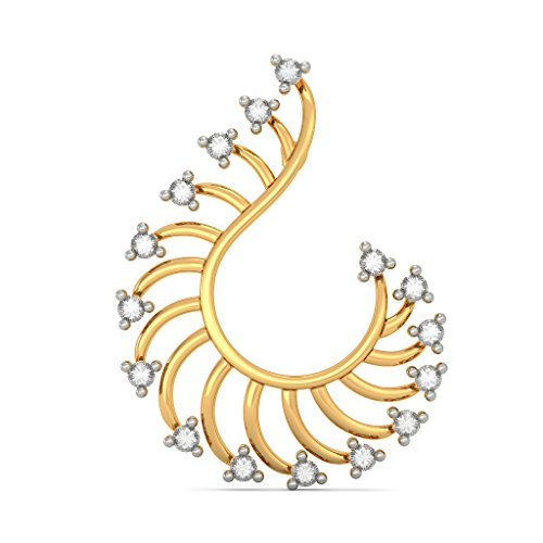 14 K jaune Or 0,32 CT TW White-diamond (IJ | SI) Boucles d'oreille à tige