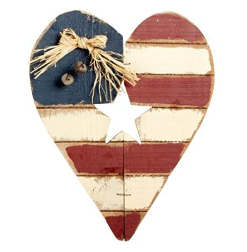 Painted American Flag Wood Heart Sign Wall Hanger
