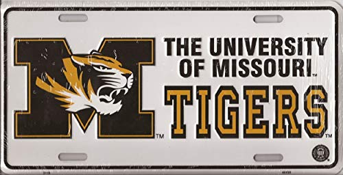 - World Flags Direct Made in The USA - University of Missouri Tigers White License Plate, Licensed NCAA Flag Aluminum 6