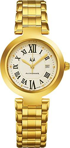 Alexander Monarch Niki Date Silver Large Face Watch For Women – Swiss Quartz Yellow Gold Plated Elegant Ladies Fashion Designer Dress Watch A203B-03