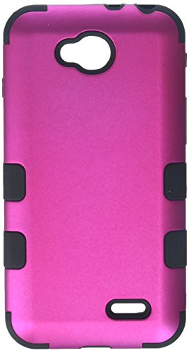 Asmyna Titanium TUFF Hybrid Phone Protector Cover for LG D415 Optimus L90 - Retail Packaging - Solid Hot Pink/Black