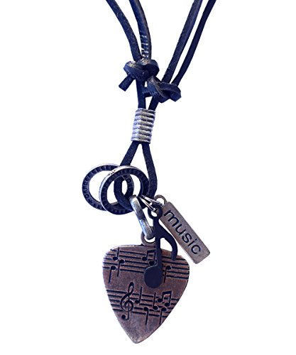 Music Musical instruments necklace, genuine leather cord Surfer jewelry for Men & Women (Guitar (Genuine Instrument)