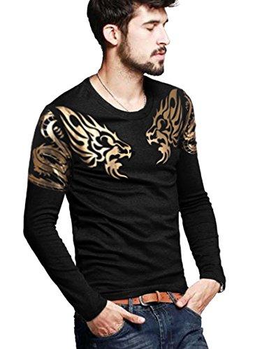 COOFANDY Mens Print Tees Dragon Graphic Long Sleeves Fashion T-Shirts Black L by COOFANDY (Image #2)