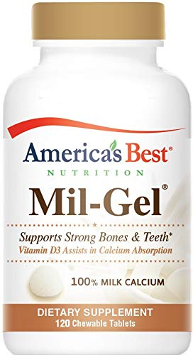 (America's Best Nutrition Mil-Gel Natural Milk Calcium (500MG Calcium Phosphate) with Vitamin D3-120 Chewable Tablets - Vegetarian - Made in USA - GMP Quality Assured - Money Back Guarantee)