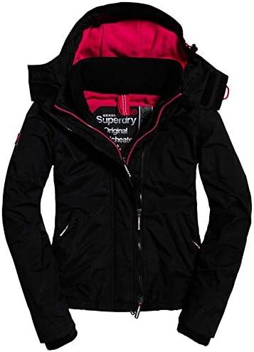 New Womens Superdry Pop Zip Hooded Arctic SD-Windcheater Jacket Black
