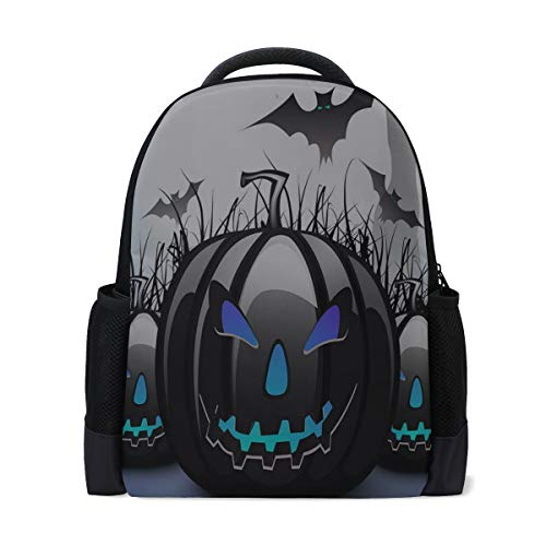 Price comparison product image Backpack Halloween Abstract Pumpkin Bat Personalized Shoulders Bag Classic Lightweight Daypack for Men / Women / Students School