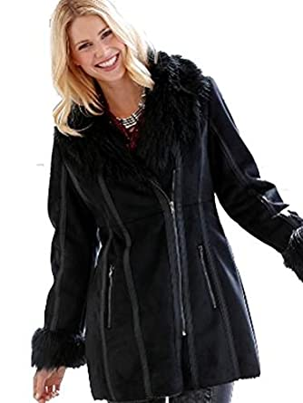 Black Faux Suede Coat Long Jacket Faux Fur Collar & Cuffs Zip ...