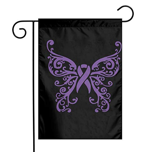 (Purple Awareness Ribbon Butterfly Garden Flag Party Decor Flags For Celebration,Festival,Home,Outdoor,Garden Decorations 12 X 18 Inch)