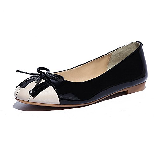 AmoonyFashion Womens Round-Toe Closed-Toe No-Heel Pumps-Shoes With Bows Black kY2LLDw